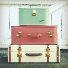 I have always loved vintage luggage and thought it would make a great decoration or table.
