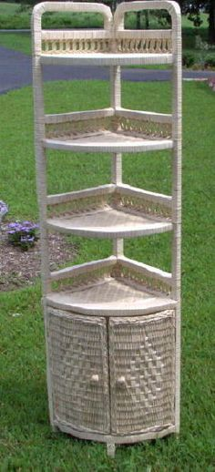 5 Foot Natural Wicker Corner Shelf   Available In 4 Colors