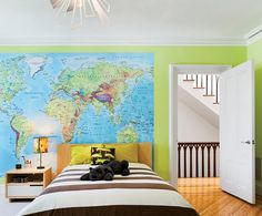 Love the use of maps in boys bedroom.