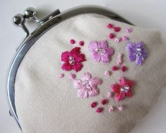 coin purse with pink flowers