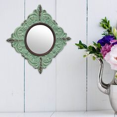 pin it for later. Read more on french country bathroom accessories. Stonebriar Decorative Antique Green Ceramic Wall Mirror, Vintage Home Décor for Living Room, Kitchen, Bedroom, or Hallway, French Country Decor. Decorative wall mirror features a round glass mirror with crystal clear reflection accented with a lightly distressed pale green ceramic frame #frenchcountrybathroomaccessories