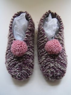 My grandma used to make me slippers like these.  I miss them!  Wish I knew how to knit.