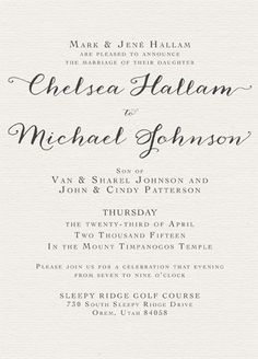 Chelsea Hallam Front Invitation Maker, Online Check, Classic Wedding Invitations, Announcement, Chelsea, Marriage, Unique, Valentines Day Weddings, Wedding Invites Vintage