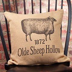 New Country Primitive Farmhouse Chic SHEEP BURLAP PILLOW  Decorative Throw