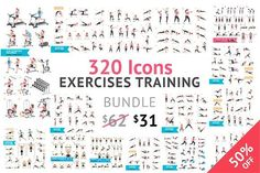 Fitness Aerobic and Exercises Icons. by Graphixmania on @creativemarket