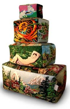 Poufs made from vintage tapestries and needlework from Frederique Morrel.