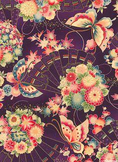 Hyakka Ryoran Kimono Inspired Art Print by Nurieshariff - X-Small Japanese Quilts, Japanese Textiles, Japanese Patterns, Japanese Fabric, Japanese Design, Japanese Art, Japanese Kimono, Textile Patterns, Print Patterns