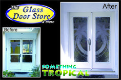 Etched palm trees on rainglass. New doors installed. Very very high privacy . http://glassdoorstampa.com/etched-or-sandblasted-glass-doors/