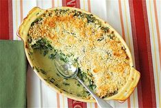 Spinach Gratin - amazing with the swiss, could be made with feta or cheddar too. Great side dish and it would make a great vegetarian entree Vegetarian Thanksgiving, Thanksgiving Recipes, Holiday Recipes, Vegetarian Cookbook, Vegetarian Entrees, Spinach Gratin, Good Food, Yummy Food, Veggie Side Dishes