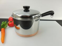 Revere ware 3 quart saucepan with recessed dome lid... uncommon 1989 cookware item.