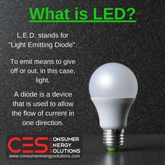 If you've ever wonder what L.E.D. means, we have the answer!   Visit our website at http://www.consumerenergysolutions.com/?utm_content=buffera1c50&utm_medium=social&utm_source=pinterest.com&utm_campaign=buffer  #LED #Energy #Lighting