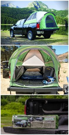 The Backroadz SUV tent takes camping to a whole new level -- right in the back of your open-bed pickup truck or connected to your SUV! #affiliate #AwesomeCampingTips