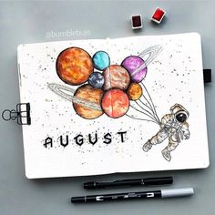 Another space theme for August cover page. It has been favorited by a lot o peop… Another space theme for August cover page. It has been favorited by a lot o people these few months. Are you using space theme too? Bullet Journal Cover Page, Bullet Journal Notes, Bullet Journal School, Bullet Journal Aesthetic, Bullet Journal Spread, Bullet Journal Brands, Planer Cover, Sketchbook Cover, Bulletins