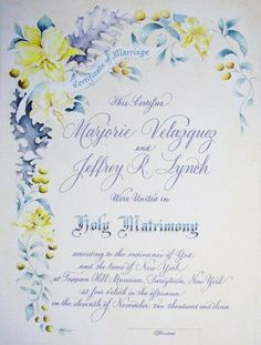 Painted marriage certificate