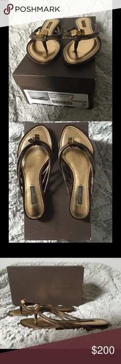 Louis Vuitton Damien Thong Brown Sandals Fabulous Damier canvas 'Feel Free' thong sandals from Louis Vuitton in size 5.  Bow detail with LV logo gold hardware caps in excellent condition.  Soles are clean and new.  Includes original box but not in great condition. Louis Vuitton Shoes Sandals