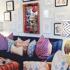 Furbish Studio, Raleigh NC, quote prints, tortoise mirror, john robshaw pillows, mixed prints, #daretomix