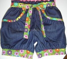 Nanny at Nannycraft4u.com.au shows how to make Girl's Bubble Shorts using self made pattern, adding curved, gathered pockets.