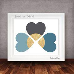 Paillettes d'or wall art, bleu chambre art, bleu pépinière décor de mur, mur chambre décor imprimable-INSTANT DOWNLOAD sur Etsy, 3,78€