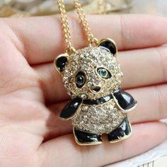 Korea Style and Sweet Rhinestone Inlaid Bear Shape Pendant Sweater Chain