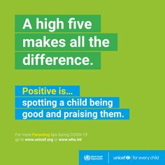 Parenting during #COVID19: Positive #parenting is spotting a child being good and praising them. World Organizations, International Health, Autumn Activities For Kids, Behaviour Chart, Gratitude Quotes, Being Good, Beginning Of School, High Five, Health Advice