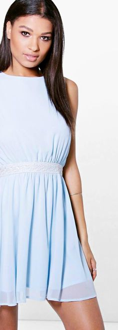 Ramia Embellished Waist Chiffon Skater Dress - Dresses  - Street Style, Fashion Looks And Outfit Ideas For Spring And Summer 2017