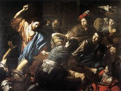 """""""Christ driving the money changers out of the temple"""" by Valentin de Boulogne"""