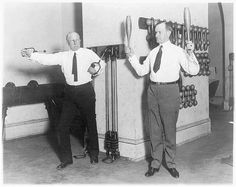 Vice President Calvin Coolidge and Speaker Frederick Gillett, exercise buddies in the House gym, January 1923 (Library of Congress)