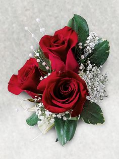 Triple Red Rose Corsage - Interflora