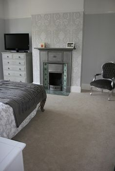 "Our grey bedroom - painted in Farrow & Ball ""Blackened"" and using Laura Ashley ""Josette"" wallpaper."