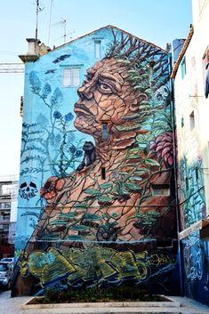 Street Art, Rue, Home Art, Graffiti, Lion Sculpture, Statue, Lisbon, Angels, Artists