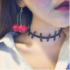Pu Stitch Choker Necklace