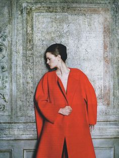 Magdalena Langrova by Anna Bauer for  Interview Russia. Coat: Jil Sander.