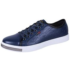 Snowman Lee Mens Lace Up Leather Comfortable Fashion Sneaker Blue 7 M US ** Read more reviews of the product by visiting the link on the image. Note: It's an affiliate link to Amazon