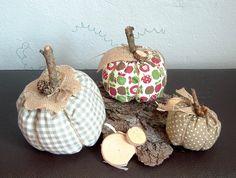 Deko-Objekte - Kürbis aus Stoff 3er Set Landhaus Herbst - ein Designerstück von MiMaKaefer bei DaWanda