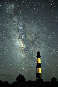Milky Way over the Bodie Island Lighthouse at Cape Hatteras National Seashore. ♕ re-pinned by http://www.waterfront-properties.com/