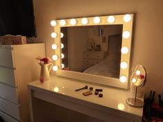 Large makeup mirror with lights for every makeup addict! Light it up and treat yourself to a professional makeup experience! Makeup bloggers and professional makeup artists just love it as it is a perfect match with the IKEA MALM vanity table! SIZE ►27,5 tall x 35,4 wide x 2,75 deep Diy Vanity Mirror With Lights, Hollywood Lighted Vanity Mirror, Hollywood Lights, Lighted Mirror, Hollywood Style Mirror, Makeup Vanity Lighting, Mirrors For Makeup, Makeup Vanity Mirror, Vanity Mirrors