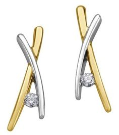 10K Yellow & White Gold single diamond Earrings Diamond Earrings, White Gold, Amp, Yellow, Diamond Stud Earrings, Diamond Drop Earrings, Gold