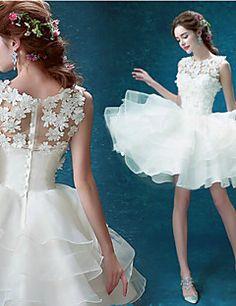 Ball Gown Short/Mini Wedding Dress - Jewel Organza – GBP £ 58.39
