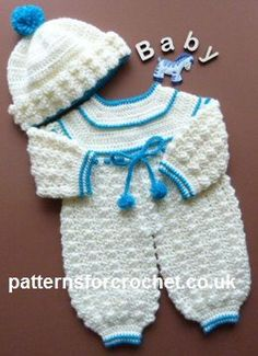 Free baby crochet pattern rompers and bobble hat usa