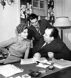 """Joan Fontaine, Laurence Olivier and Alfred Hitchcock on the set of """"Rebecca"""" (1940)"""