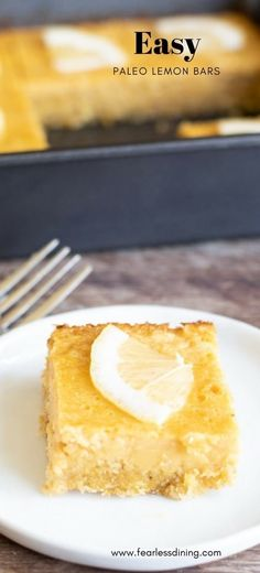Creamy delicious Paleo Lemon Bars make an awesome snack! This paleo lemon bar recipe is refined sugar free, dairy free, gluten free, and absolutely irresistible! Recipe at www.fearlessdining.com #lemonbars #paleolemonbars #paleodessert #lemon #coconut #coconutsugar #coconutoil #chiaseeds #lemondessert #dairy free via @fearlessdining