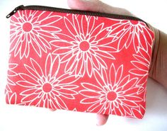 Coral Coin Purse Zipper pouch Gadget Case Padded Eco Friendly by JPATPURSES, $8.00