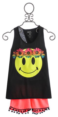 Flowers by Zoe Smiley Face Top with Pom Pom Short