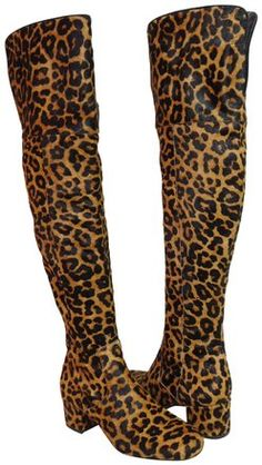 3c98fcb14 Sam Edelman Brown Elina Over The Knee Leopard Boots Booties Size US 7  Regular (M