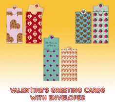 Six mini envelopes with greeting cards second set - Valentine's day wishes - Letter size - Digital File di JoIdeasArtworks su Etsy https://www.etsy.com/it/listing/266073330/six-mini-envelopes-with-greeting-cards