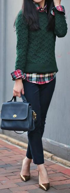 fall. jeans. plaid shirt. sweater