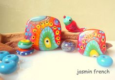 jasmin french ' birdy's trip ' lampwork focal bead glass art set