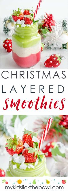 Layered Christmas smoothies a healthy Christmas treat for kids, a festive breakfast idea