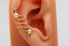 Ear Cuff- Wire Wrap w/ Pearls by RazzleDazzleMe on etsy.com