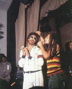 Stevie Wonder & Bob Marley live at Black Music Association, USA, 1979 Music Icon, Soul Music, Music Is Life, Damian Marley, Bob Marley Legend, Robert Nesta, Nesta Marley, Stevie Wonder, Reggae Music